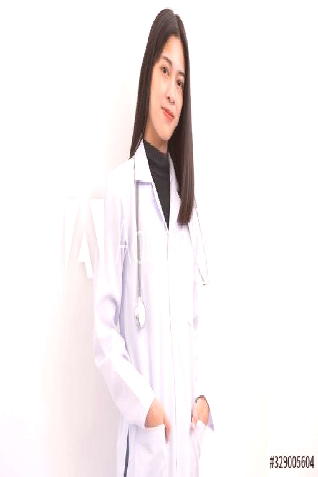 Portrait Asian female doctors wear white glue on white isolate background. ,