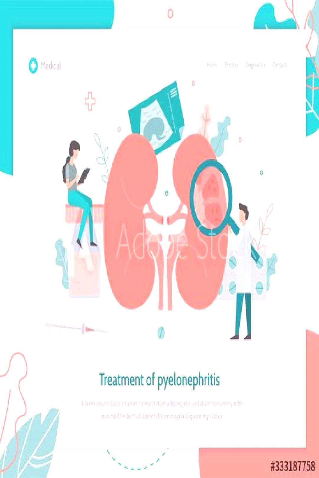 Pyelonephritis kidney treatment. Doctors conduct medical research for kidney inflammation. Landing