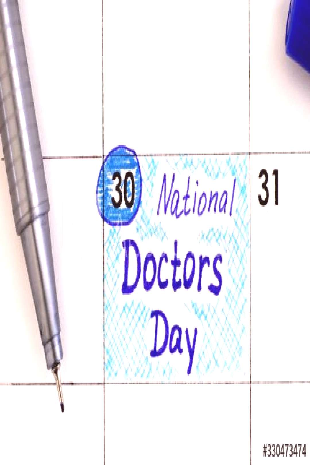Reminder National Doctors Day in calendar with blue pen. ,