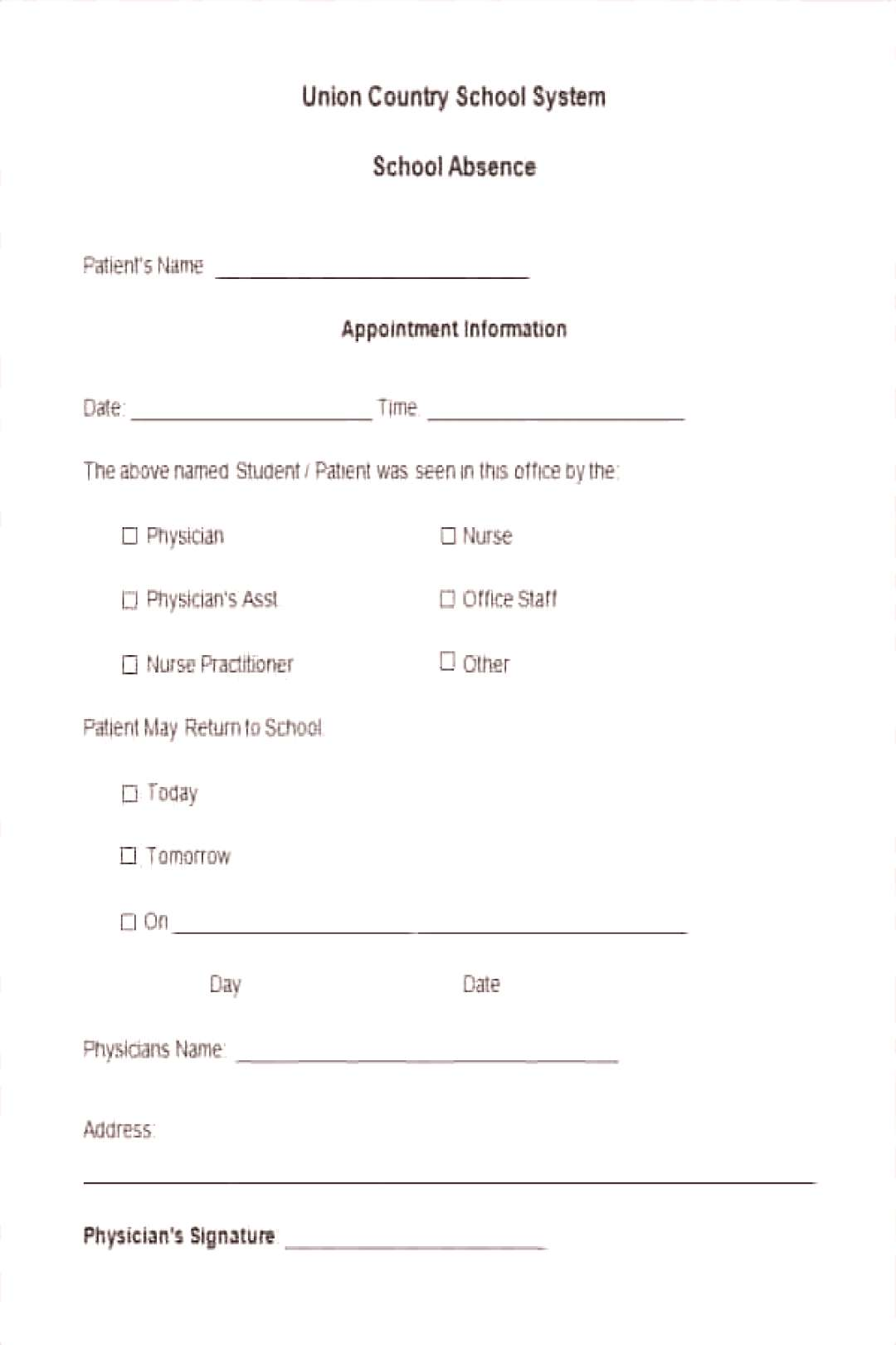 School Absent Letters Lovely Doctors Note Template for School, School Absent Letters Lovely Doctor