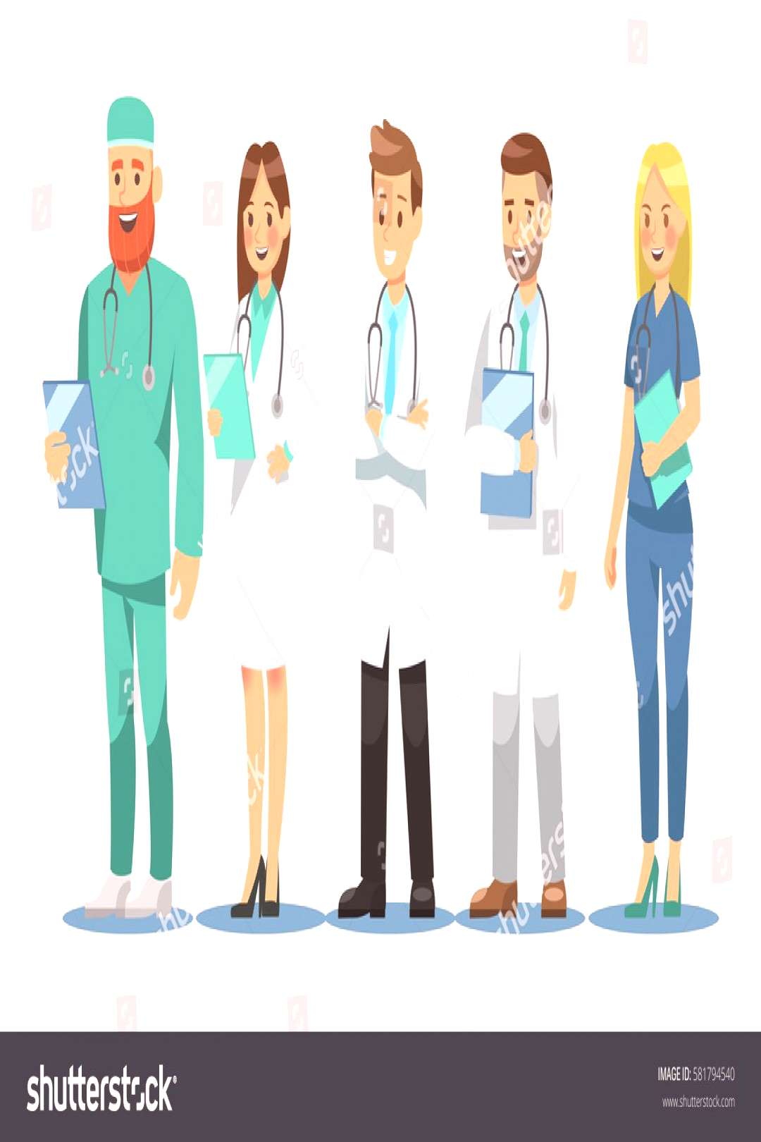 Set of doctors characters. Medical team concept in vector illustration design. ,