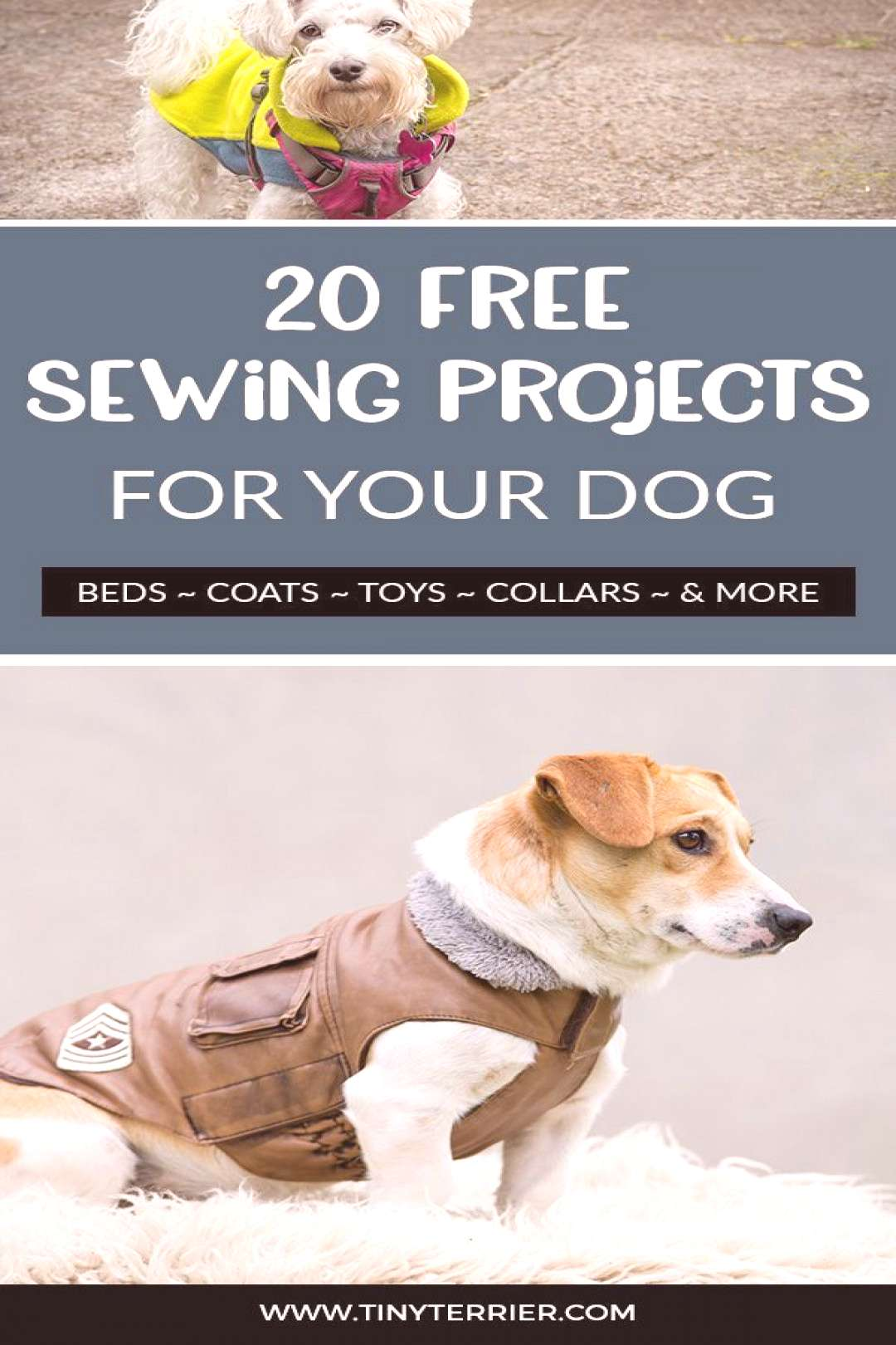 Sewing patterns for dogs! Beds, coats, toys collars & more. Get 20 fabulous free sewing projects fo