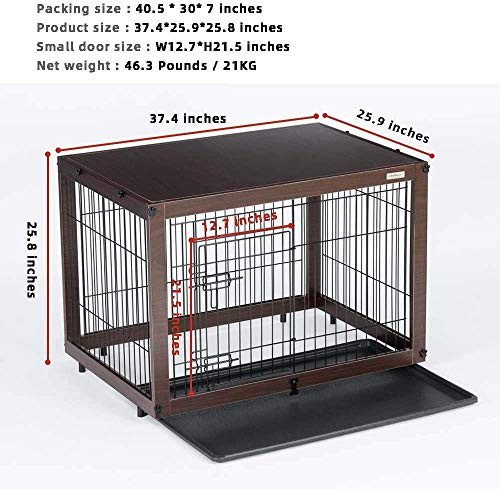 SIMPLY + Wood amp Wire Dog Crate, Pet Crate End Table, Wooden