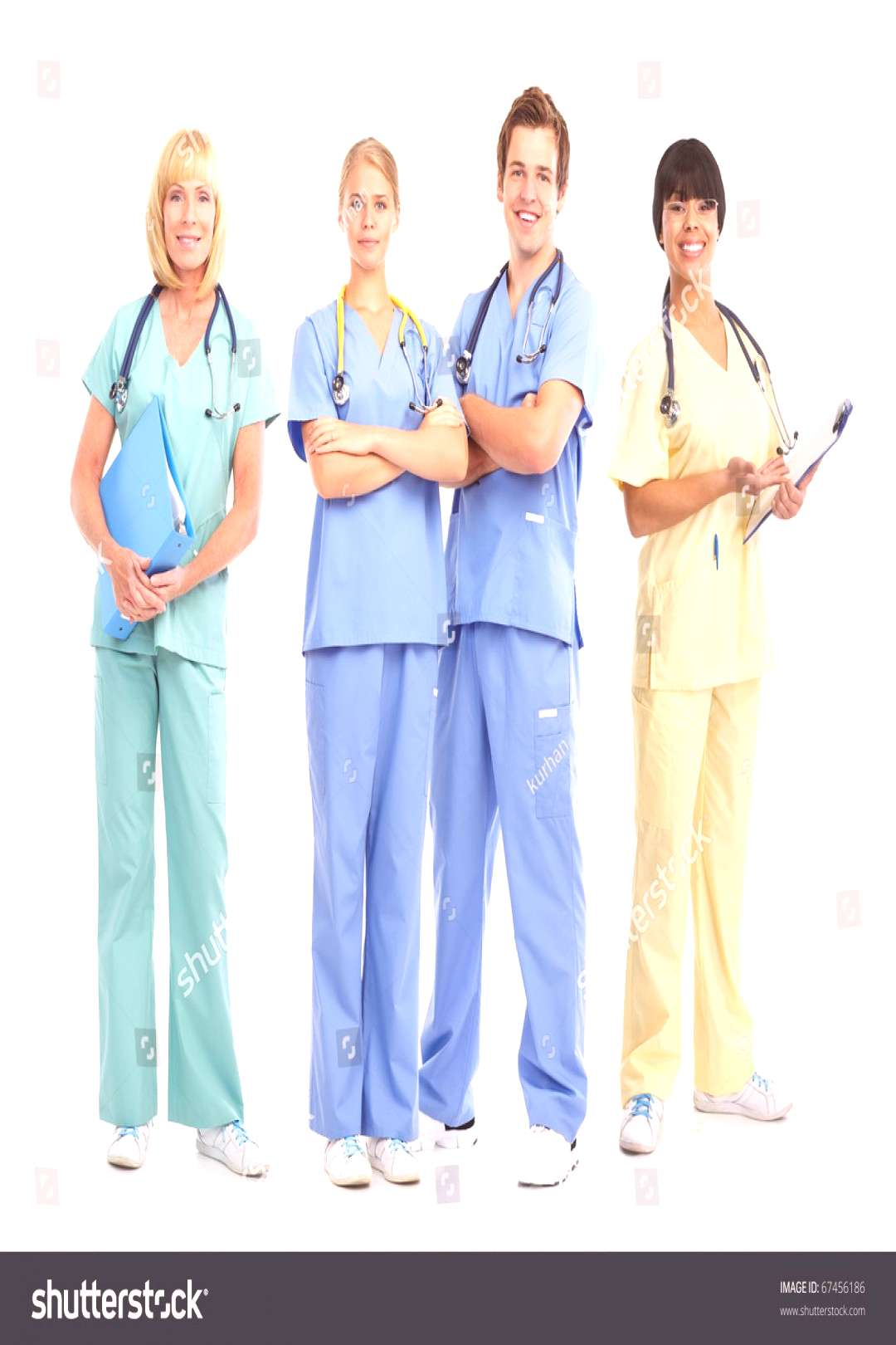 Smiling medical doctors with stethoscopes. Isolated over white background ,