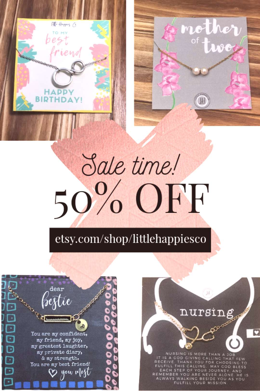 Take 50% OFF our entire shop today through Easter! Find gifts for Mothers Day, birthdays, best fri