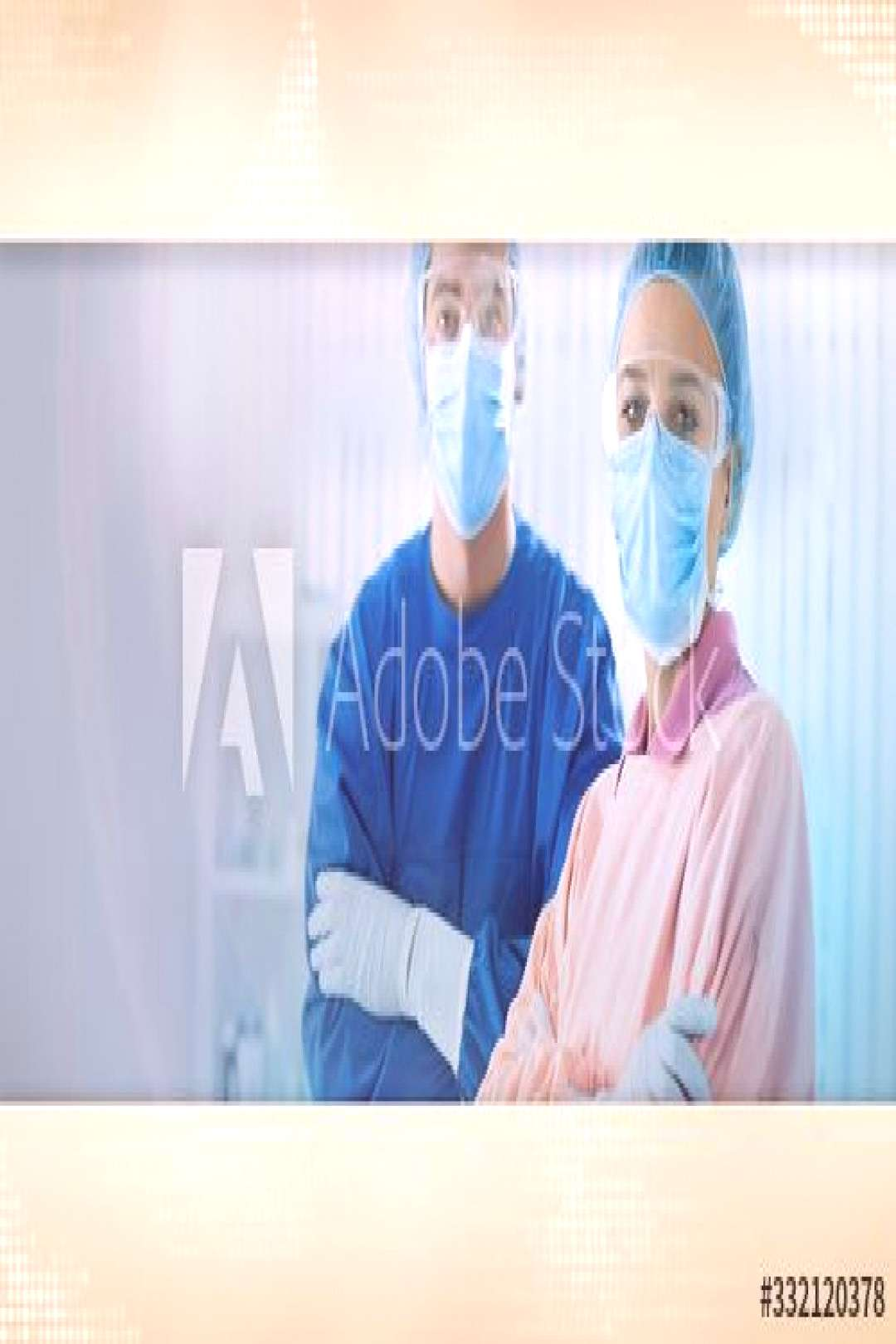 Team of doctors with protection face mask ,