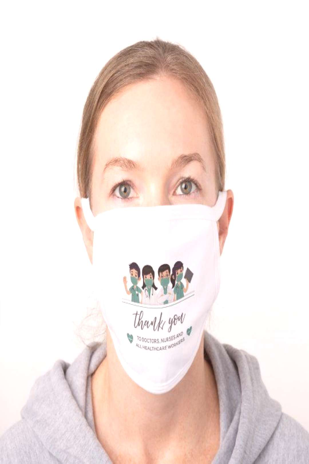 Thank you Doctors Nurses Healthcare White Cotton Face Mask