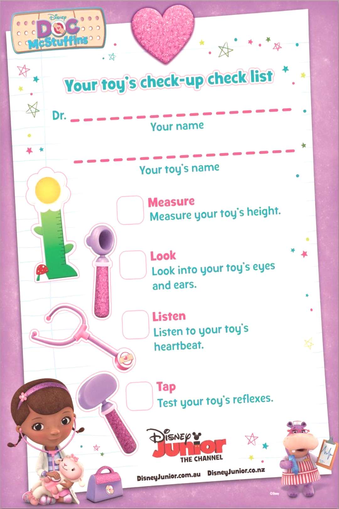 Toy Doctor Pretend Play with free Printable Doctors Checklist   Doc McStuffins Birthday Party Idea