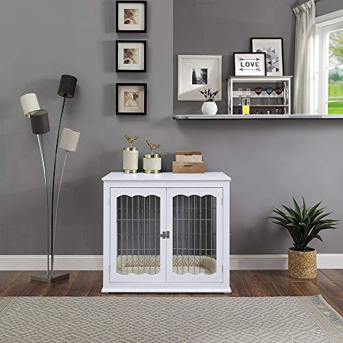 unipaws Furniture Style Dog Crate End Table with Cushion,