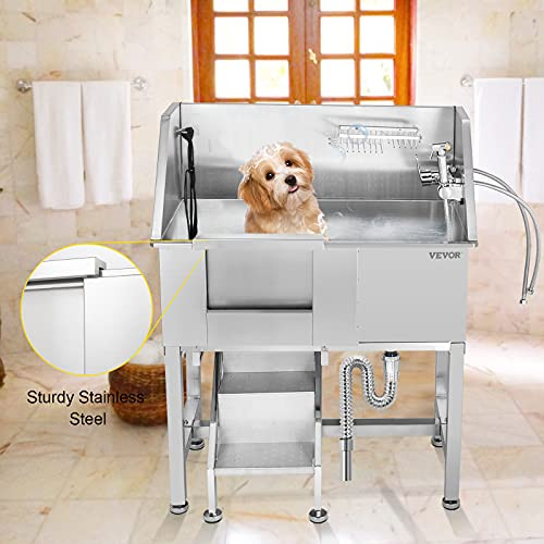 VEVOR 34quot Pet Grooming Tub Stainless Steel Dog Wash Station