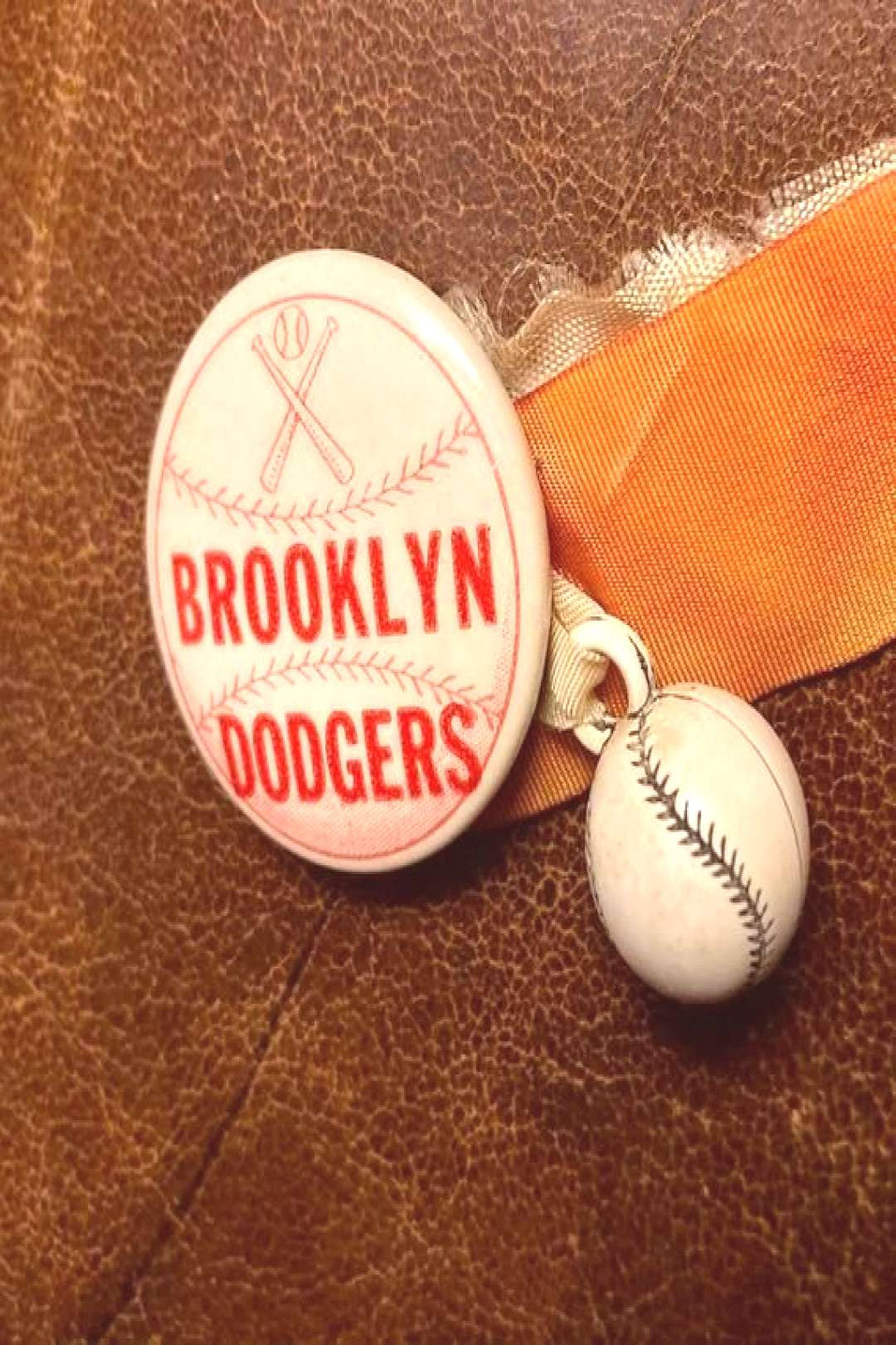 Vintage Brooklyn Dodgers  Baseball Pin Pinback  ribbons and baseball charm NYC New York City Rare c