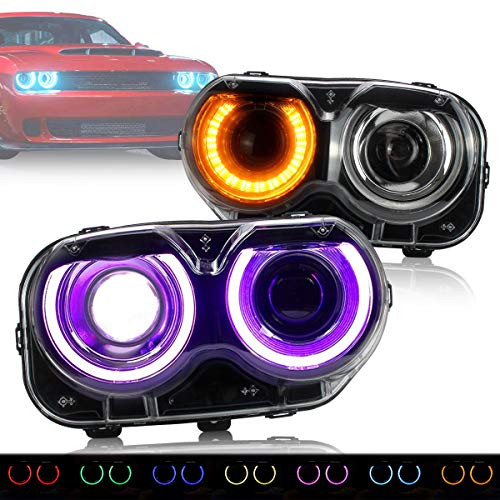 VLAND Multi Color LED Projector RGB Headlights Assembly