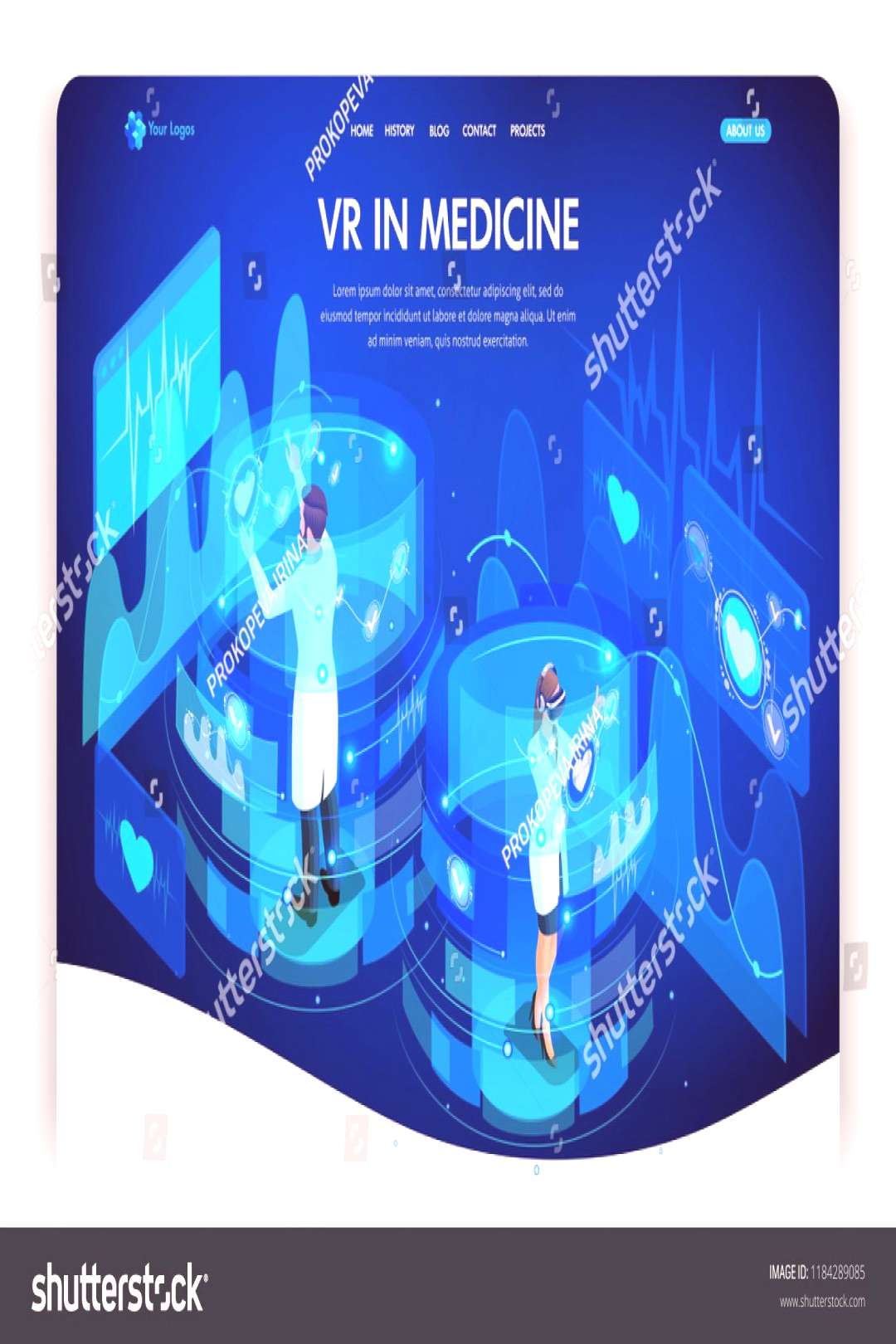 Website template design. Isometric concept augmented reality for medicine, doctors work on virtual