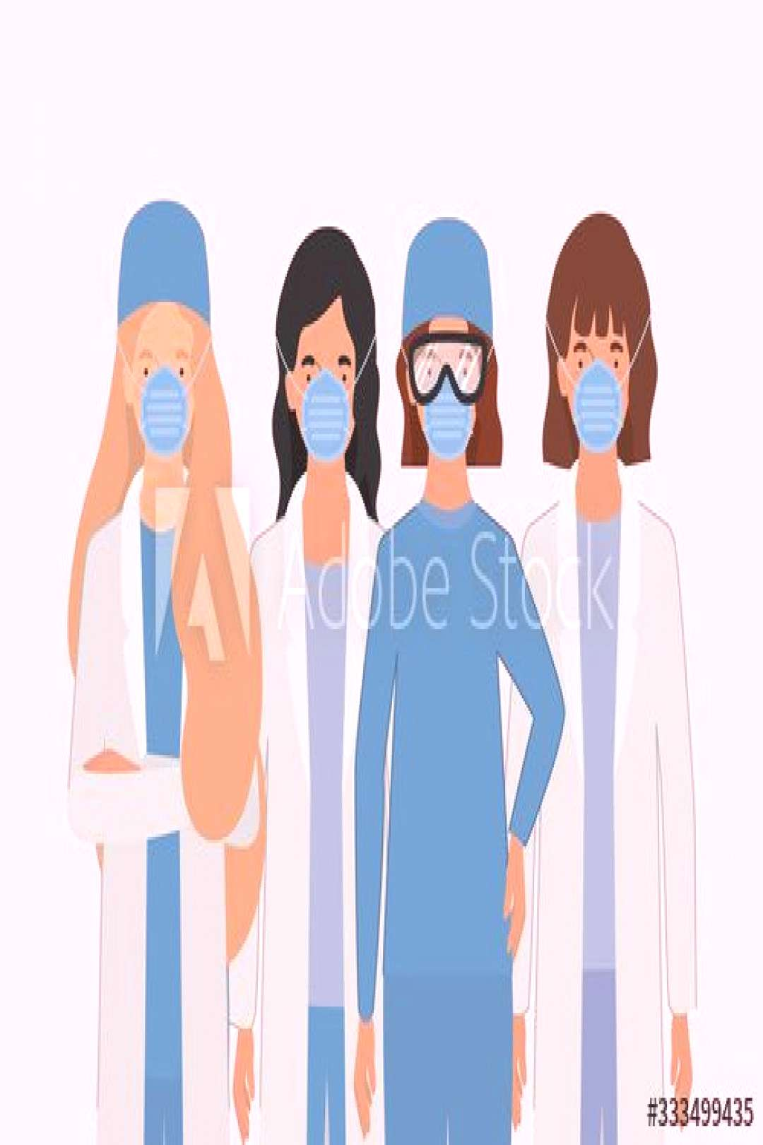 Women doctors with uniforms masks and glasses vector design ,