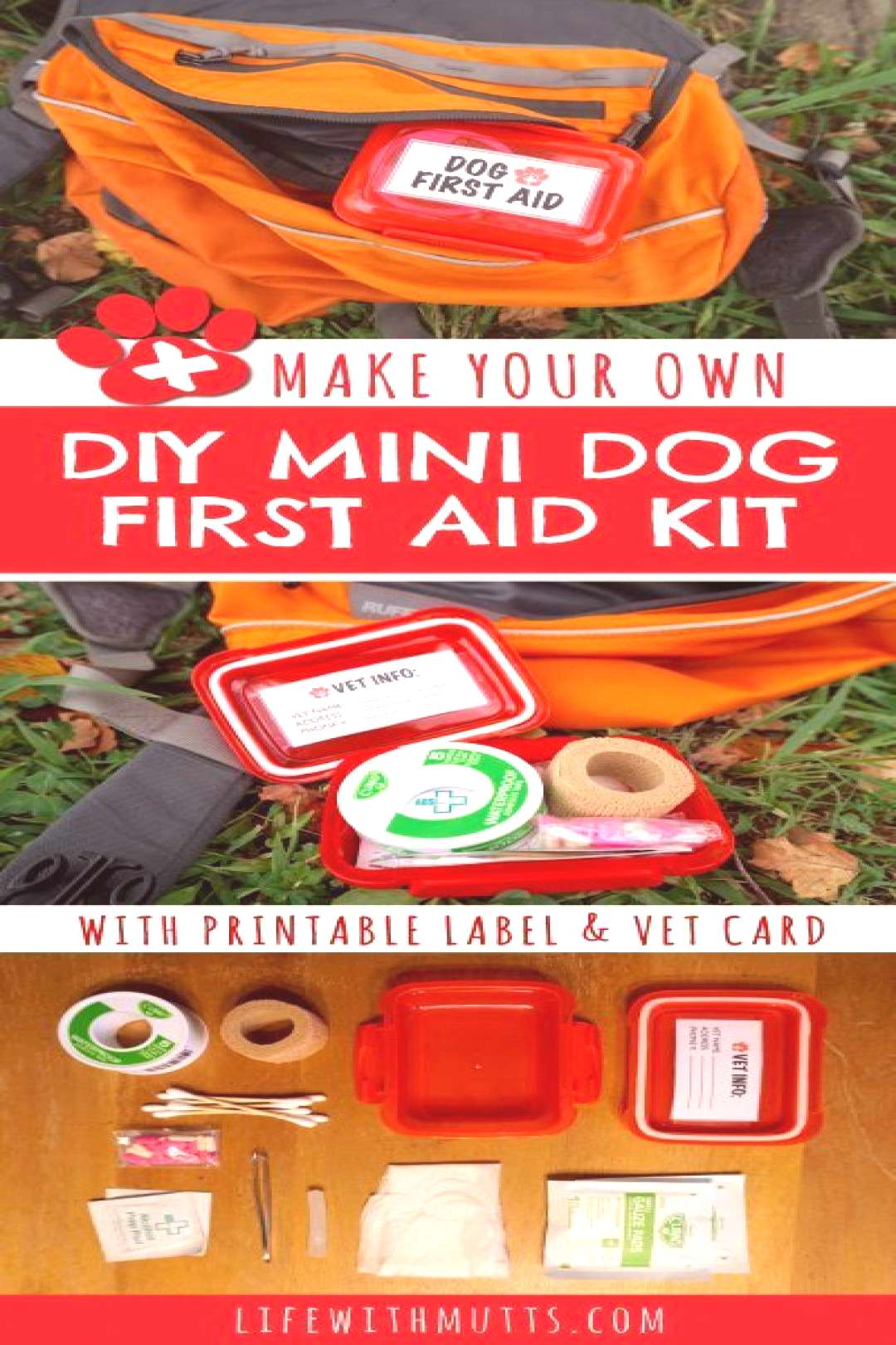 You don't want to lug around a full size first aid kit, but want to be ready in case your dog gets